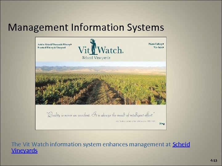 Management Information Systems The Vit Watch information system enhances management at Scheid Vineyards 4