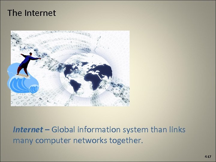 The Internet – Global information system than links many computer networks together. 4 -17