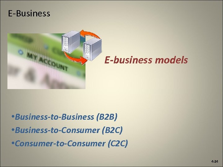 E-Business E-business models • Business-to-Business (B 2 B) • Business-to-Consumer (B 2 C) •