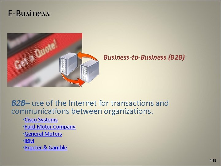 E-Business-to-Business (B 2 B) B 2 B– use of the Internet for transactions and