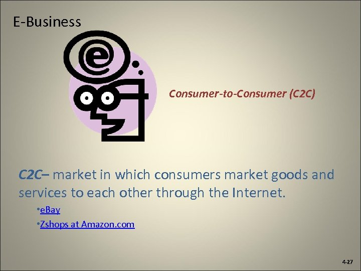 E-Business Consumer-to-Consumer (C 2 C) C 2 C– market in which consumers market goods