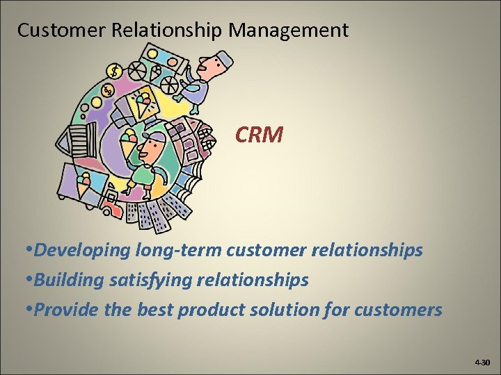 Customer Relationship Management CRM • Developing long-term customer relationships • Building satisfying relationships •