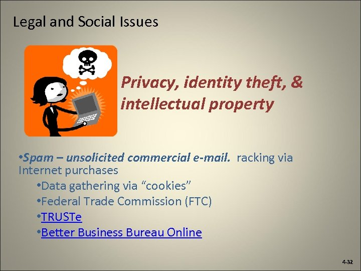 Legal and Social Issues Privacy, identity theft, & intellectual property • Spam – unsolicited