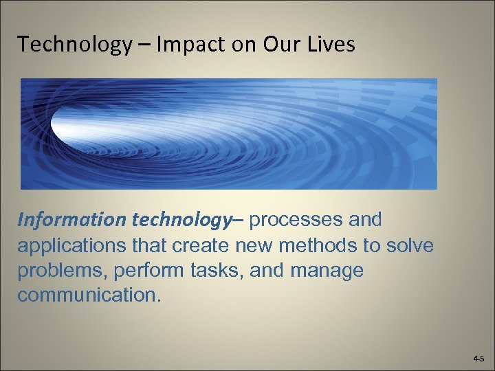 Technology – Impact on Our Lives Information technology– processes and applications that create new