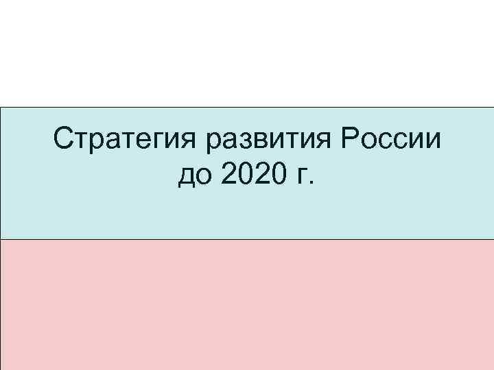 Стратегия развития России до 2020 г.