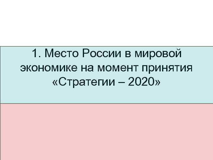 1. Место России в мировой экономике на момент принятия «Стратегии – 2020»