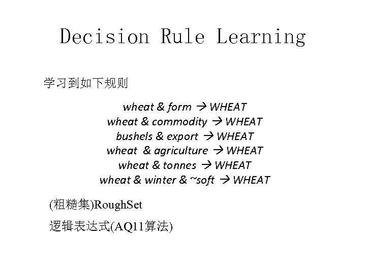 Decision Rule Learning 学习到如下规则 wheat & form WHEAT wheat & commodity WHEAT bushels &