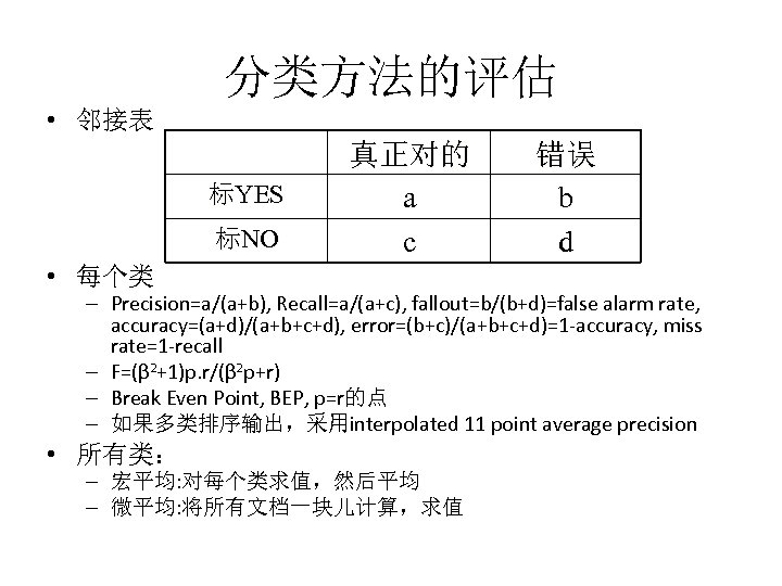 分类方法的评估 • 邻接表 标YES 标NO 真正对的 a c • 每个类 错误 b d –