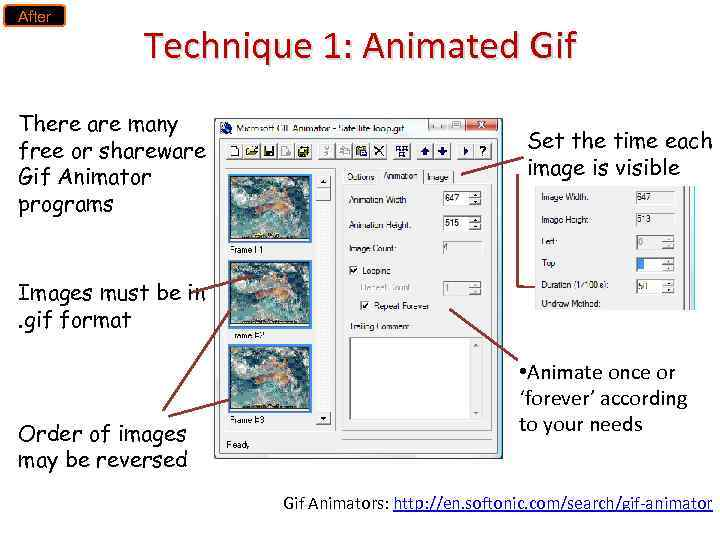 After Technique 1: Animated Gif There are many free or shareware Gif Animator programs