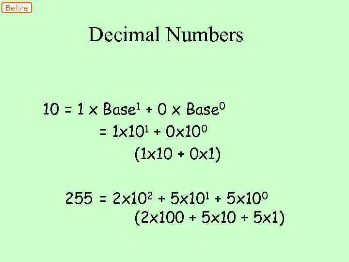 Before Decimal Numbers 10 = 1 x Base 1 + 0 x Base 0