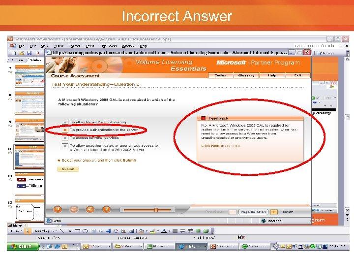 Incorrect Answer