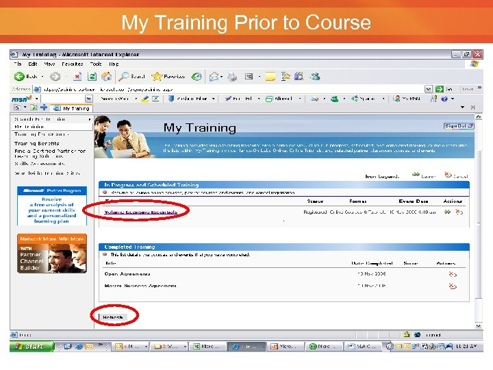 My Training Prior to Course