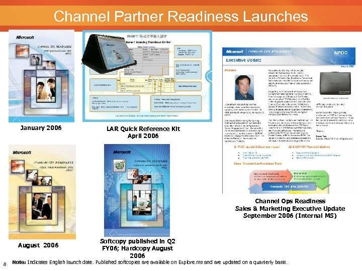 Channel Partner Readiness Launches January 2006 LAR Quick Reference Kit April 2006 Channel Ops