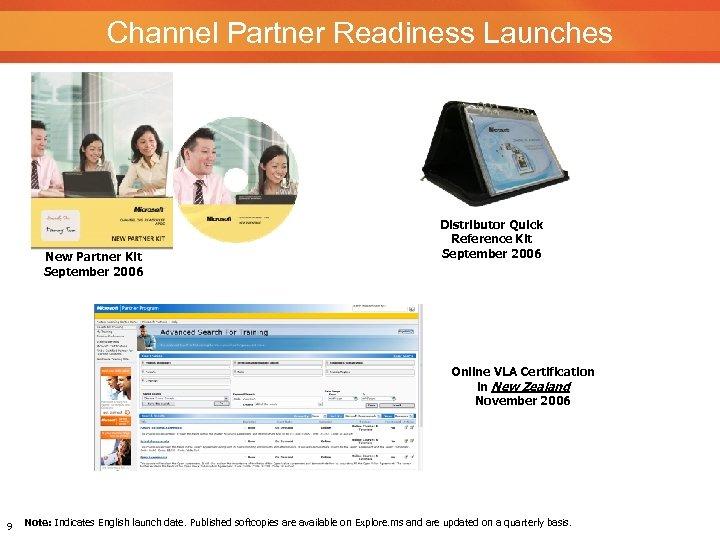 Channel Partner Readiness Launches New Partner Kit September 2006 Distributor Quick Reference Kit September