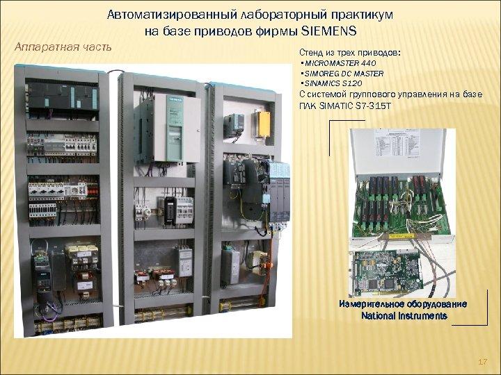 Автоматизированный лабораторный практикум на базе приводов фирмы SIEMENS Аппаратная часть Стенд из трех приводов: