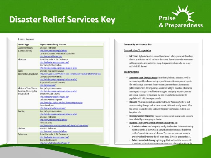 Disaster Relief Services Key
