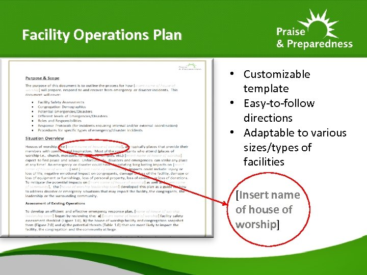 Facility Operations Plan • Customizable template • Easy-to-follow directions • Adaptable to various sizes/types