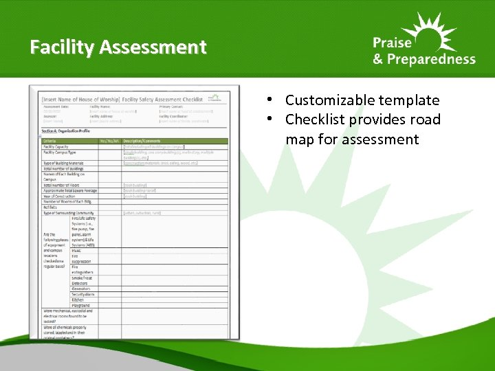 Facility Assessment • Customizable template • Checklist provides road map for assessment