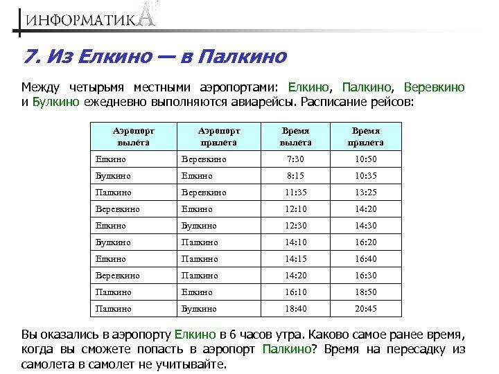 7. Из Елкино — в Палкино Между четырьмя местными аэропортами: Елкино, Палкино, Веревкино и