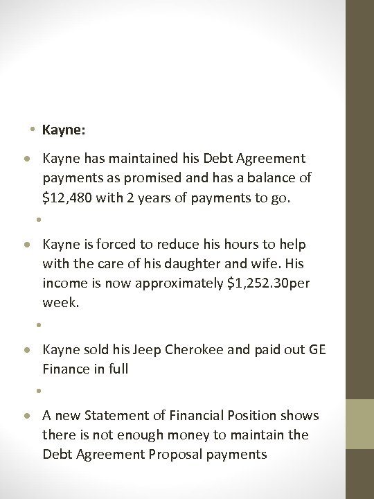 • Kayne: Kayne has maintained his Debt Agreement payments as promised and has