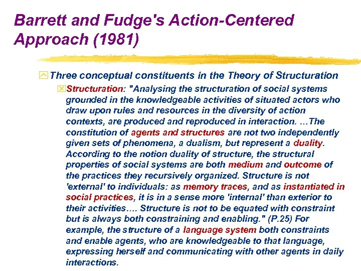 Barrett and Fudge's Action-Centered Approach (1981) y Three conceptual constituents in the Theory of