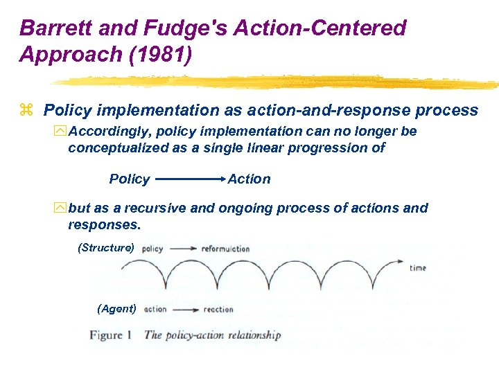 Barrett and Fudge's Action-Centered Approach (1981) z Policy implementation as action-and-response process y Accordingly,