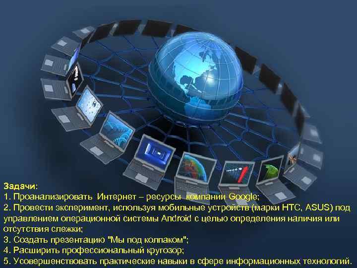 Задачи: 1. Проанализировать Интернет – ресурсы компании Google; 2. Провести эксперимент, используя мобильные устройств