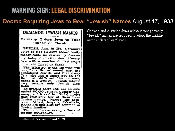 "Decree Requiring Jews to Bear ""Jewish"" Names August 17, 1938 German and Austrian Jews"