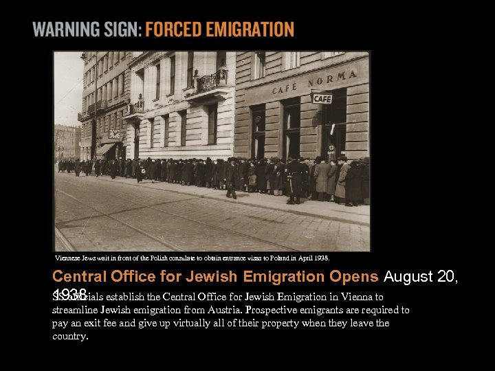 Viennese Jews wait in front of the Polish consulate to obtain entrance visas to