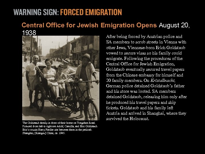 Central Office for Jewish Emigration Opens August 20, 1938 After being forced by Austrian