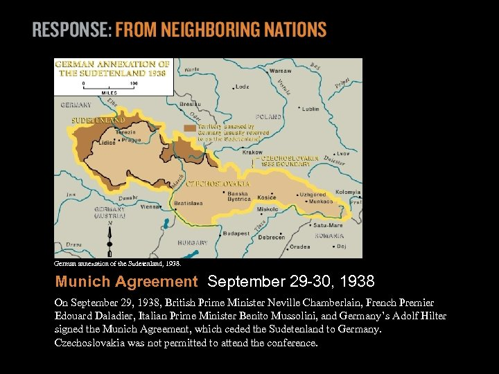 German annexation of the Sudetenland, 1938. Munich Agreement September 29 -30, 1938 On September