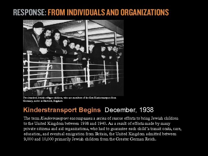 Two hundred Jewish refugee children, who are members of the first Kindertransport from Germany,