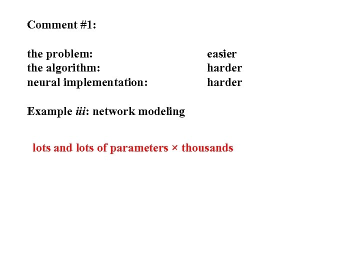Comment #1: the problem: the algorithm: neural implementation: easier harder Example iii: network modeling