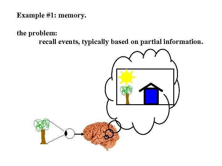 Example #1: memory. the problem: recall events, typically based on partial information.