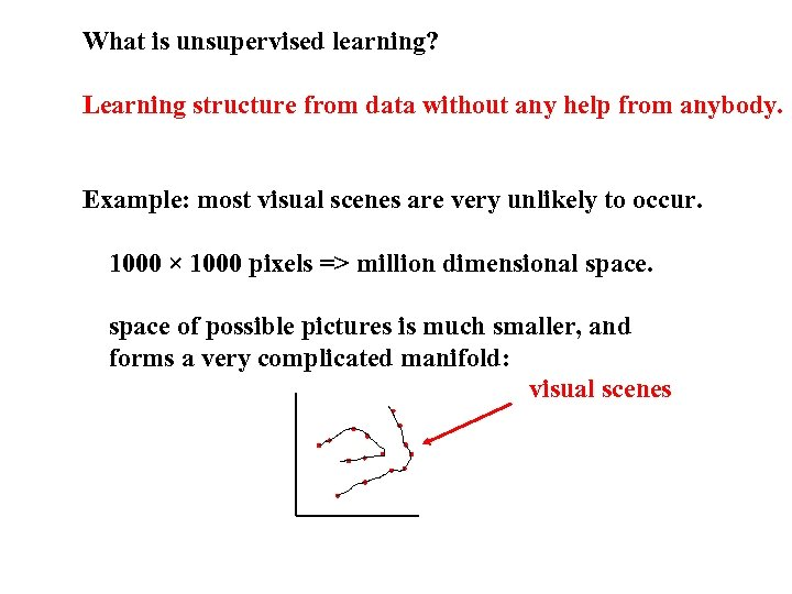 What is unsupervised learning? Learning structure from data without any help from anybody. Example:
