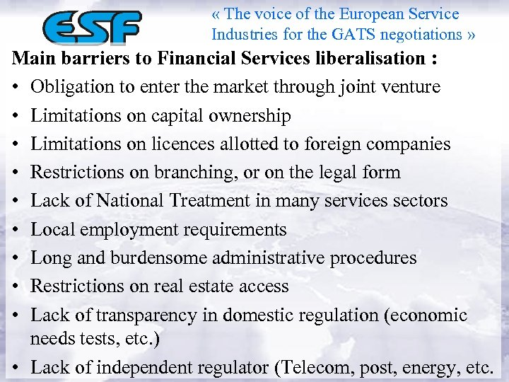 « The voice of the European Service Industries for the GATS negotiations »