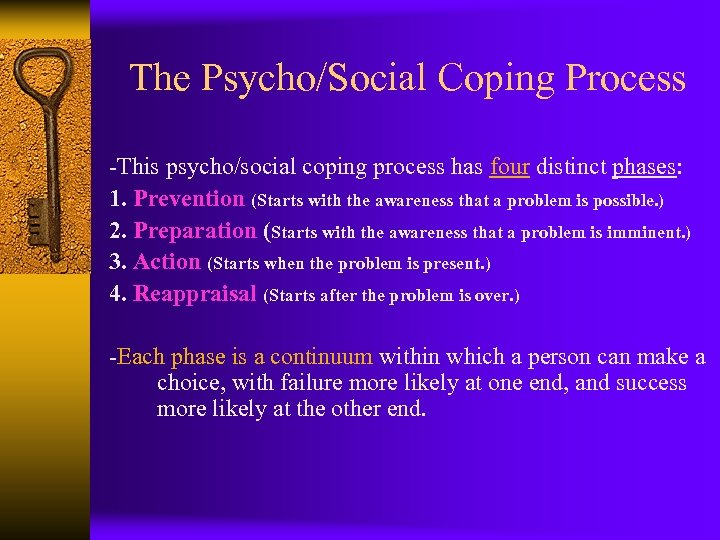 The Psycho/Social Coping Process -This psycho/social coping process has four distinct phases: 1. Prevention