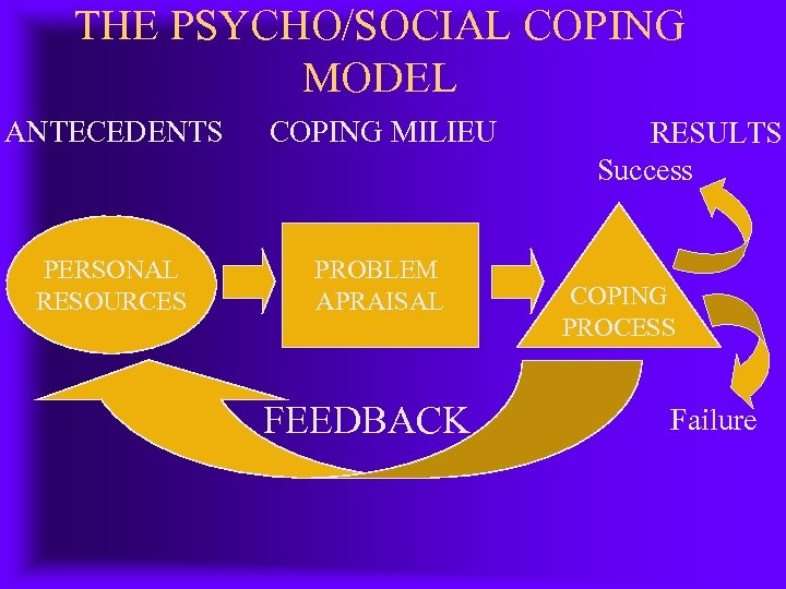 THE PSYCHO/SOCIAL COPING MODEL ANTECEDENTS COPING MILIEU PERSONAL RESOURCES PROBLEM APRAISAL FEEDBACK RESULTS Success