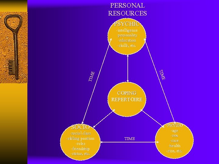 PERSONAL RESOURCES PSYCHIC -intelligence -personality -education -skills, etc. TIM E E TIM COPING REPERTOIRE