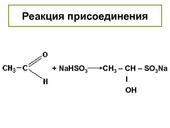 Реакция присоединения + Na. HSO 3 СН 3 – СН – SO 3 Na