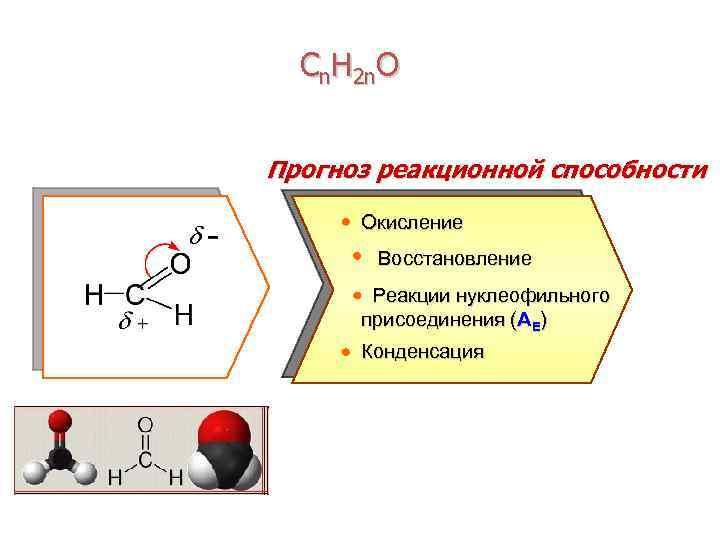 Сn. H 2 n. O Прогноз реакционной способности Окисление Восстановление Реакции нуклеофильного присоединения (AE)