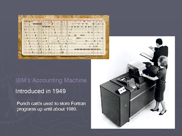 IBM's Accounting Machine Introduced in 1949 Punch cards used to store Fortran programs up