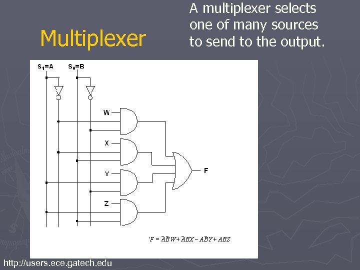 Multiplexer http: //users. ece. gatech. edu A multiplexer selects one of many sources to