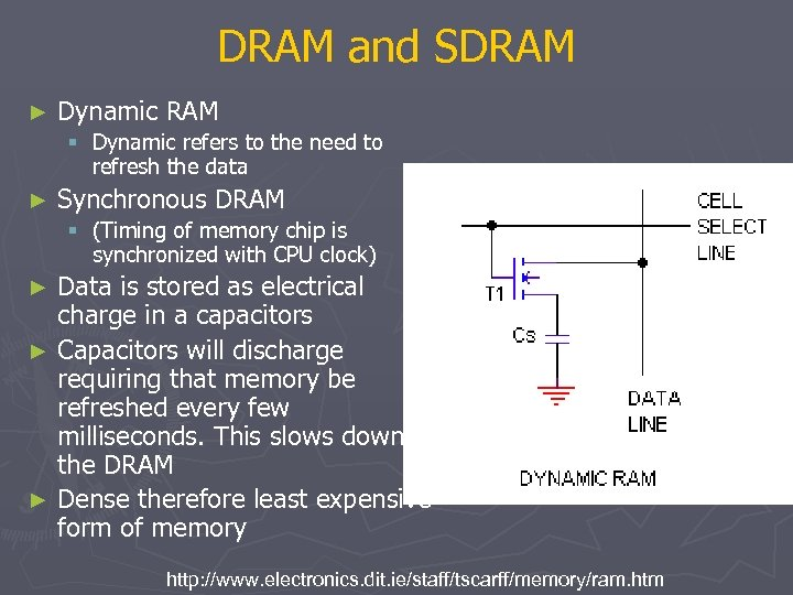 DRAM and SDRAM ► Dynamic RAM § Dynamic refers to the need to refresh