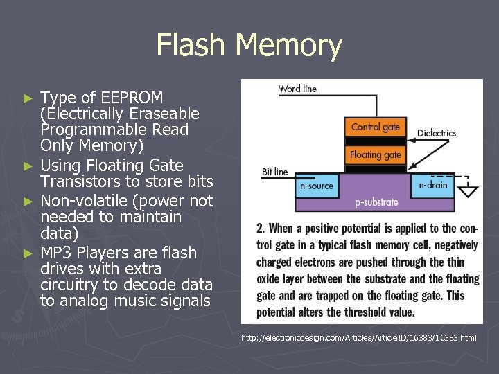 Flash Memory Type of EEPROM (Electrically Eraseable Programmable Read Only Memory) ► Using Floating