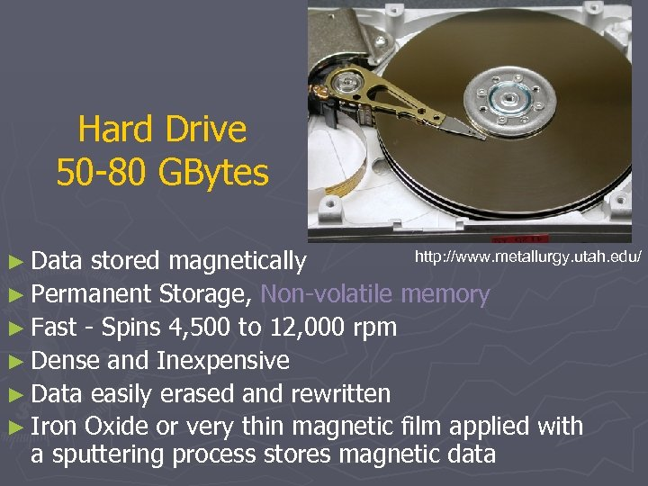 Hard Drive 50 -80 GBytes ► Data http: //www. metallurgy. utah. edu/ stored magnetically