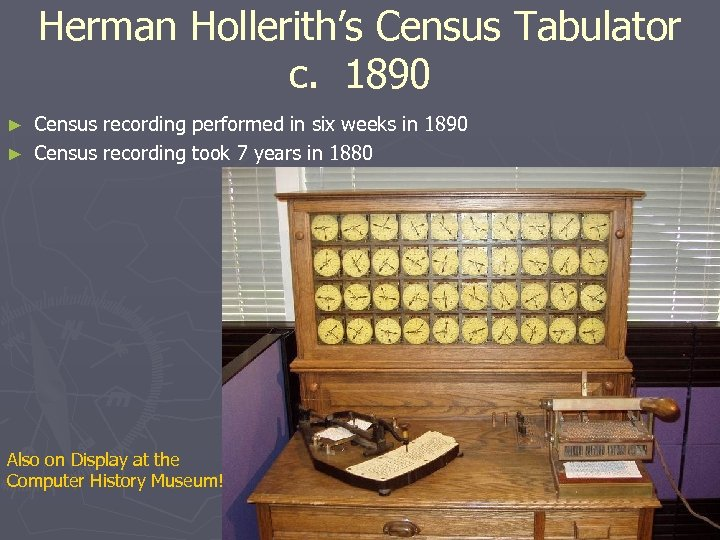 Herman Hollerith's Census Tabulator c. 1890 Census recording performed in six weeks in 1890