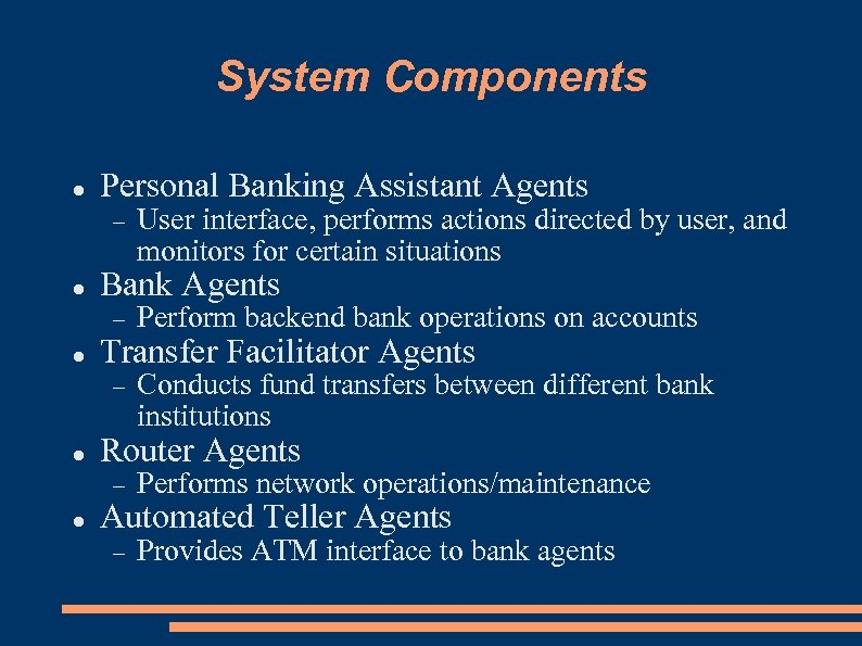 System Components Personal Banking Assistant Agents User interface, performs actions directed by user, and