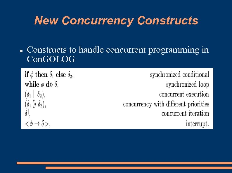New Concurrency Constructs to handle concurrent programming in Con. GOLOG