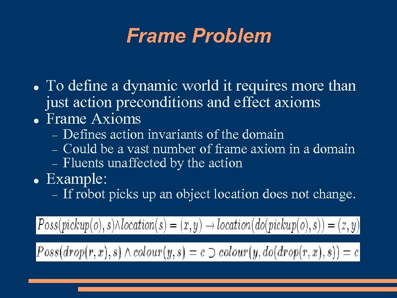 Frame Problem To define a dynamic world it requires more than just action preconditions